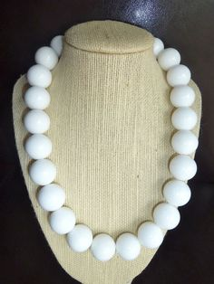 Big round white beautiful jade beaded necklace by terrygoddard, $51.00