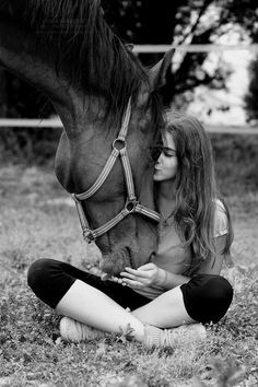 This...this is what I want to see looking out my screen door. My future wife sitting with one of our many horses.