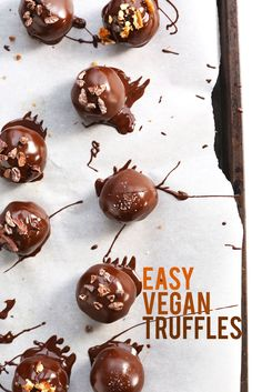 Easy Vegan Truffles! Simple ingredients and methods and SO rich, healthy and delicious! #vegan #glutenfree