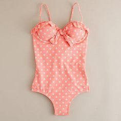 Peach polka dot swim suit! So hard to find 1 pieces these days! Love this though!