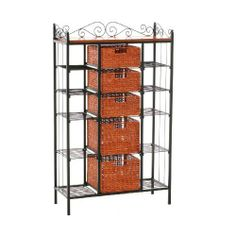SEI Manilla 5-Drawer Baker's Rack by Southern Enterprises, Inc.. $167.97. 31-1/2-Inch by 12-3/4-Inch by 52-Inch Tall. Top Baskets - 11-inch by 11-inch by 5-inch Tall. Bottom Baskets - 11-inch by 11-inch by 8-inch Tall. Top 6 Shelves - 8-inch by 12-inch by 6-1/2-inch Tall. Elegant and beautiful, this five-drawer kitchen rack will help with storage, display and organization all in one. Two large lower brown stained rattan baskets and three smaller upper baskets function as ...