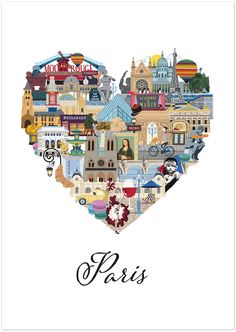 Love Paris is an intricately illustrated interpretation of all that makes Paris such a loveable and memorable city. From Le Louvre to the Eiffel Tower, Mona Lis Deco France, Ville France, Torre Eiffel Paris, Travel Illustration, Paris Illustration, I Love Paris, Oui Oui, Vintage Travel Posters, Paris Travel