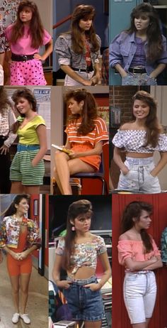 "Kelly's girl-next-door high-waisted shorts/crop tops/shoulder baring. | The Ultimate Guide To ""Saved By The Bell"" Fashion"