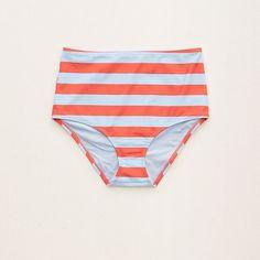 Aerie Hi-Rise Bikini Bottom (42 AUD) ❤ liked on Polyvore featuring swimwear, bikinis, bikini bottoms, light neon red, bikini bottom swimwear, high-waisted swimwear, high waisted bikini bottoms, red bikini and full coverage bikini bottoms