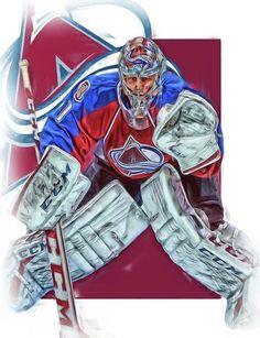 Semyon Varlamov Print featuring the mixed media Semyon Varlamov Colorado Avalanche Oil Art by Joe Hamilton