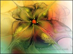 "Abstract Flower Artwork ""Floral Veil Dance"", Digital Art (Fractal) by Karin Kuhlmann"