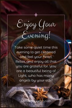 Set aside some quiet time this evening to get centered in your heart. Feel the peaceful universe surrounding you with love. Angels watch over you, guide you, and protect you, so you can have a relaxing, enjoyable evening! Good Evening Wishes, Good Evening Greetings, Good Night Wishes, Good Night Sweet Dreams, Good Night Image, Good Morning Good Night, Good Morning Quotes, Night Time, Morning Sayings