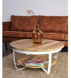Salontafel Cilamon - 45 x 90 x 90 cm - Wit - 2 houten bladen - Industriële look - Lilly is Love Living Styles, Modern Sofa, Farmhouse Style, Ikea, Living Room, House Styles, Interior, Inspiration, Furniture