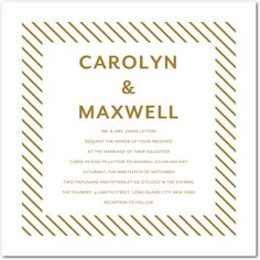 Skinny Lines - Foil Stamping Wedding Invitations - Magnolia Press - Gold Foil - Yellow : Front Foil Stamped Wedding Invitations, Bridal Shower Invitations, Wedding Stationery, Party Invitations, Wedding Planner, Print Invitations, Invites, Wedding Paper Divas, Wedding Cards