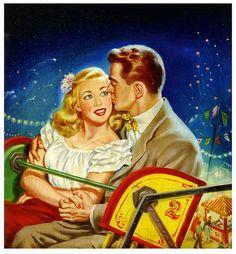 Nouvel amour sur la grande roue. couple vintage des années 1940 1924
