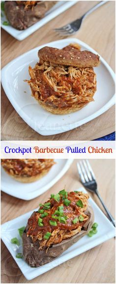 Crockpot Barbecue Pulled Chicken © Jeanette's Healthy Living #crockpot #slowcooker #recipe