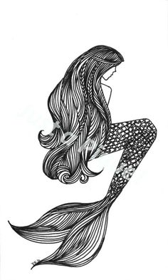 Mermaid illustration. I like the idea just not the exact look of this one. #tattoo #blackink #longhair