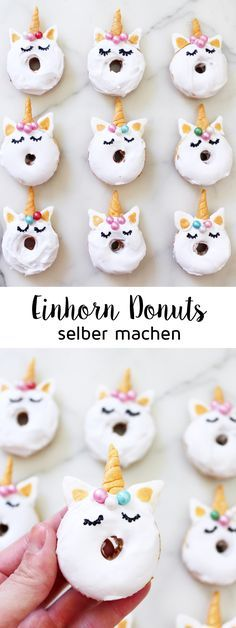 Bake mini donuts: recipe for sweet unicorn donuts! - Bake mini donuts: recipe for sweet unicorn donuts! My mini unicorn donuts not only look great, they - Baked Mini Donuts Recipe, Mini Donut Recipes, No Bake Snacks, No Bake Treats, Beignets, Macarons, Kreative Snacks, Sweet Cafe, Delicious Desserts