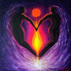 Is this burning an eternal flame, fluorescent acrylics on canvas painting about love