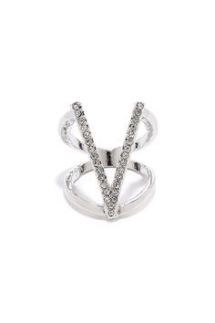 Silver and Rhinestone Ring
