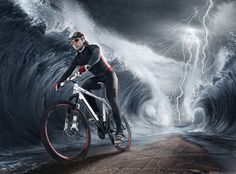 Photo about Waves cyclist in fantastic ocean. Image of professional, speed, difficulty - 39324626 Royalty Free Images, Royalty Free Stock Photos, Water Images, Bike Photo, Cycling Accessories, Sport Photography, Cycling Outfit, Sport Bikes, People Around The World