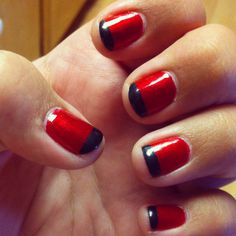 Red & Black French Manicure