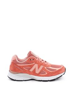 New Balance, W990 Womens Sneakers The 990V4 features mesh and an overlay of lightweight pigskin leather upper with reflective details that catch the light at night. This 4th generation style sports new updates like more breathability, lace keepers to secure the tongue in place, and a new and improved New Balance logo., US women's sizing, Almond toe, Lace-up front, Dual density collar foam, ENCAP® midsole technology for support and durability, Blown rubber outsole, Made in USA