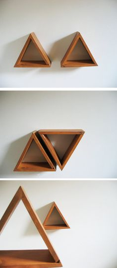 Triangle Wall Shelves Burnt Orange Set of 2 by Junglai on Etsy, $44.00