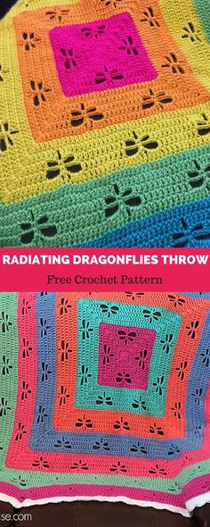 Amazing Photo of Dragonfly Crochet Pattern Free Dragonfly Crochet Pattern Free Radiating Dragonflies Throw Free Crochet Pattern All About Crochet Quilt, Afghan Crochet Patterns, Crochet Squares, Granny Square Crochet Pattern, Baby Blanket Crochet, Crochet Stitches, Crochet Baby, Knit Crochet, Crochet Afghans