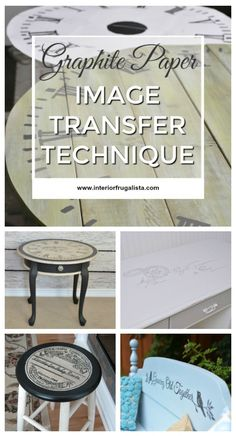 A simple tutorial on how to add image graphics onto furniture and home decor using the Graphite Paper Image Transfer Technique. Paper Furniture, Decoupage Furniture, Retro Furniture, Upcycled Furniture, Furniture Projects, Furniture Makeover, Cool Furniture, Armoire Makeover, Mirror Makeover
