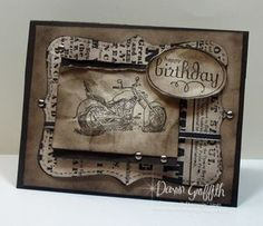 B Day card for Male - use crinkling paper idea and distress.Colour and stamp can be varied to suit recipient.