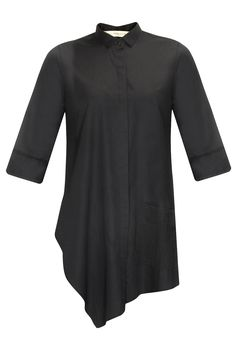 Black pintucks pocket asymmetric shirt available only at Pernia's Pop-Up Shop…