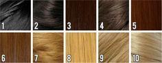 Para entender a numeração das colorações é simples. Sendo o número 1 a tinta mais escura (próximo ao preto azulado) e o 10 o tom mais claro (loiro palha).