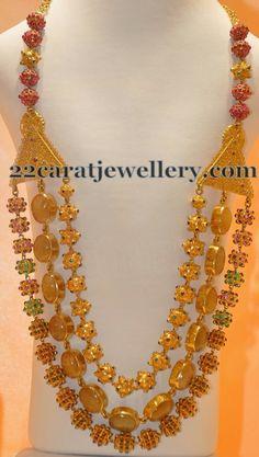 Jewellery Designs: Gold Beads Yellow Sapphires Long Set