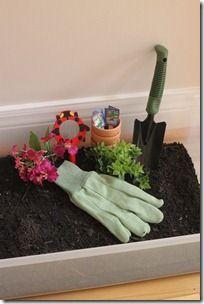 Garden Sensory Tub - great to use as occupation based idea or sensory integration