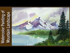 Watercolor painting | Watercolor tutorial of simple Mountain and Lake landscape step by step easy - YouTube