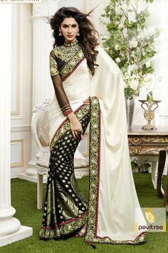 Pavitraa The Black Diva Saree crafted with Zari, Bead and Patch Butti Work. more..
