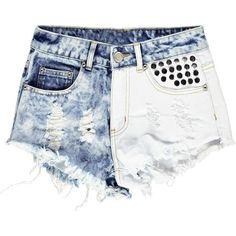 Boohoo Dalia Distressed Two Tone Stud Denim Hotpants ($14) ❤ liked on Polyvore featuring shorts, bottoms, pants, short, hot pants, torn shorts, short shorts, ripped shorts and denim hot pants