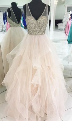 Princess Beads Pink Tulle Long Prom Dress Ball Gown