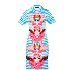 Manish Arora Paradise Printed Shirt Dress ($380) ❤ liked on Polyvore featuring dresses, print, long shirt dress, short sleeve midi dress, collar dress, print sheath dress and collared shirt dress