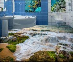 Benutzerdefinierte 3d boden Stein Küste wellen pvc vinyl-böden wandbilder für wohnzimmer 3d bodenfliesen 3d stereoskopische tapete(China (Mainland))