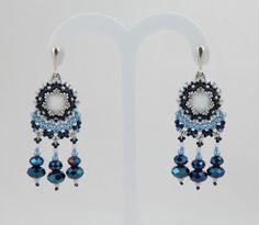 Nitecznik earrings beading beads blue handmade nitecznik.blogspot.com