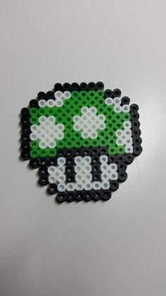 Super Mario Bros. mushroom perler decorations by JMGeekCraft