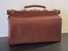 LARGE Antique French Leather Doctor's Bag 1900's by Decofanatique