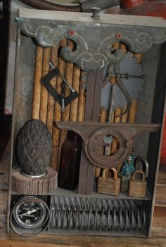 Assemblage Art Display Vintage Items by CatkinsCreations on Etsy