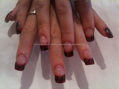 Red and black lace nail art