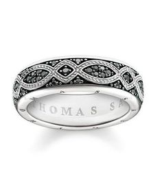 Thomas Sabo Ring Rebel At Heart Black Zirconia Pave Silver 62 | C W Sellors Fine Jewellery and Luxury Watches
