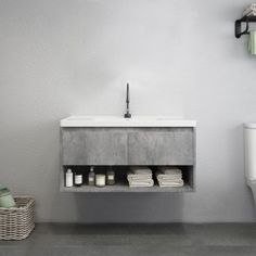 Modern Gray Floating Bathroom Vanity Wall Mount Ceramics Single Sink Vanity with Drawers & Shelf Vanity Sink, Floating Bathroom Vanities, Bathroom Sink Units, Bathroom Cabinets Over Toilet, Single Sink Vanity, Concrete Bathroom, Bathroom Units, Modern Bathroom, Small Bathroom Makeover