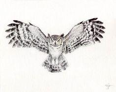 Great Horned Owl by WingedKobraTheThird on deviantART - Ink - Tatoo Ideen Owl Tattoo Chest, Cute Owl Tattoo, Owl Tattoo Small, Cool Chest Tattoos, Chest Tattoos For Women, Body Art Tattoos, Owl Tattoo Back, Fish Tattoos, Bird Tattoo Sleeves