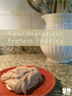 FOUR ingredient protein pudding (or icing)! I eat this at night to satisfy my sweet tooth and provide the protein I need before bed! He and She eat clean (protein powder recipes) Protein Powder Recipes, High Protein Recipes, Protein Snacks, Protein Bars, Healthy Recipes, Protein Power, Chocolate Protein Recipes, Protein Desserts, Ideal Protein