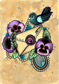 Tattoo Flash Pansy Love Letter Print by CrowsCrossbones on Etsy