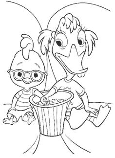 Father Care With Chicken Little Coloring Page Chicken Little