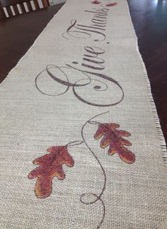 Burlap Thanksgiving Table Runner Oak Leaves