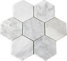 "Carrara (Carrera) Venato Hexagon 5"" Honed Mosaic Tile, $12.95 sf...just in case you didn't finish your bathroom."