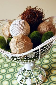 Here are some really quick and easy decor balls that can be popped into a basket, decorative bowl, tall glass container, etc. and easily changed out when you get tired of them!